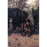 Buyenlarge 'The Return March in The Tuileries' by James Tissot Painting Print in Black/Brown, Size 66.0 H x 44.0 W x 1.5 D in   Wayfair