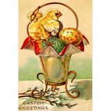 Buyenlarge 'Easter Greetings' Graphic Art in Brown/Green/Yellow, Size 30.0 H x 20.0 W x 1.5 D in   Wayfair 0-587-22976-4C4466