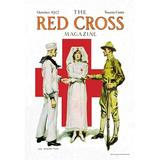 """Buyenlarge 'The Red Cross Magazine, October 1917' by James M. Flagg Vintage Advertisement in Red/Brown/Green, Size Medium 25""""-32"""" 