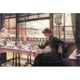 Buyenlarge 'Room w/ a Glance from the Port' by James Tissot Painting Print in Black/Brown, Size 44.0 H x 66.0 W x 1.5 D in   Wayfair