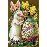 Buyenlarge 'Easter Greetings' Graphic Art in Brown/Green/Indigo, Size 42.0 H x 28.0 W x 1.5 D in | Wayfair 0-587-22949-7C2842