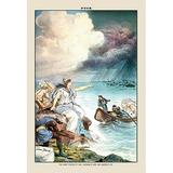 Buyenlarge Puck Magazine: The Great Floods of 1883 by J. Keppler Painting Print in Blue/Brown, Size 42.0 H x 28.0 W x 1.5 D in   Wayfair