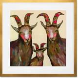 GreenBox Art Goat Family Portrait - Cream by Eli Halpin - Picture Frame Print on Paper Paper in Brown/Pink | Wayfair CU1642