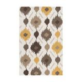 George Oliver Croghan Ikat Handmade Hooked Area Rug Polyester in Brown, Size 66.0 H x 0.27 D in | Wayfair GOLV2182 41564365
