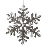 Gracie Oaks Glitter Tipped Snowflake Decorative Christmas Shaped Ornament Wood in Brown, Size 6.0 H x 6.0 W x 1.0 D in | Wayfair GRCS1090 43375595