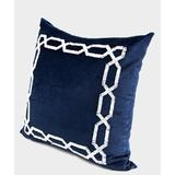 G Home Collection Handmade Textured Frame Beaded Throw Pillow Polyester/Polyfill/Cotton Blend in Blue, Size 20.0 H x 20.0 W x 3.0 D in | Wayfair
