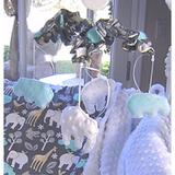 Harriet Bee Radel Musical Mobile Plastic/Fabric in Blue/White, Size 18.0 H x 15.0 W x 15.0 D in   Wayfair HBEE5184 41566836