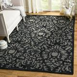 House of Hampton® Kuhlman Damask Hand Hooked Black Area Rug Polyester in White, Size 60.0 H x 36.0 W x 0.63 D in | Wayfair