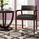 """HON 22.5"""" W Leather Seat Waiting Room Chair w/ Wood Frame Wood/Leather in Black/Brown, Size 31.0 H x 22.5 W x 22.0 D in 