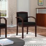 """HON 23.38"""" W Leather Seat Waiting Room Chair w/ Wood Frame Wood/Leather in Black/Brown, Size 36.38 H x 23.38 W x 23.75 D in 