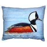 Betsy Drake Interiors Hooded Merganser Indoor/Outdoor Lumbar Pillow Polyester/Polyfill/Polyester/Polyester blend in Red | Wayfair NC459