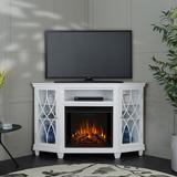 """Real Flame Corner TV Stand for TVs up to 60"""" w/ Electric Fireplace Included Wood in White/Brown, Size 36.26 H x 56.26 W x 34.69 D in 