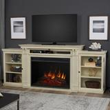 "Real Flame Grand TV Stand for TVs up to 88"" w/ Electric Fireplace Included, Wood in Distressed White 
