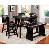 Dinner Table - Hokku Designs Lawrence 6 Piece Counter Height Breakfast Nook Dining Set, Wood/Upholstered Chairs/Solid Wood, Black, Medium