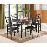 Latitude Run® Kandi 5 Piece Dining Set Wood/Metal/Upholstered Chairs in Black/Brown, Size 36.0 H x 30.0 W x 54.0 D in | Wayfair