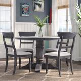 Longshore Tides Aguilera 5 Piece Dining SetWood/Upholstered Chairs in Brown, Size 30.0 H x 48.0 W x 48.0 D in | Wayfair LNTS4698 44376350