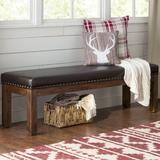 Loon Peak® Lyons Solid Wood BenchWood in Black/Brown/Green, Size 20.0 H x 65.0 W x 18.7 D in | Wayfair F55FE383CCA84C82803B72320C5A9407