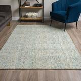 Latitude Run® Gilboa Handmade Tufted Wool Chambray Area Rug Wool in Blue/Brown, Size 120.0 H x 96.0 W x 0.51 D in   Wayfair LTDR5397 40719363