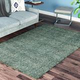 Latitude Run® Gilboa Handmade Tufted Wool Turquoise Area Rug Wool in Blue/Brown, Size 120.0 H x 96.0 W x 0.51 D in | Wayfair LTDR5408 40719407