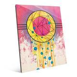 Latitude Run® 'Creative Dream Catcher' Graphic Art Print on Glass Glass in Blue/Brown/Pink, Size 10.0 H x 8.0 W x 1.0 D in   Wayfair