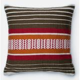Loloi Rugs Outdoor Throw Pillow Down/Feather/Polyester/Polyester blend in Brown/Orange/Red, Size 22.0 H x 22.0 W x 6.0 D in   Wayfair