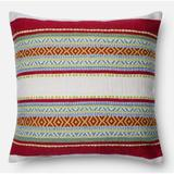"""Loloi Rugs Indoor/Outdoor Striped 22"""" Throw Pillow Down/Feather/Polyester/Polyester blend in Blue/Green/Red, Size 22.0 H x 22.0 W x 6.0 D in Wayfair"""