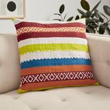 Loloi Rugs Down Indoor/Outdoor Striped Throw Pillow Down/Feather/Polyester/Polyester blend in Blue/Brown/Green, Size 22.0 H x 22.0 W x 6.0 D in