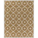 Latitude Run® Geometric Handmade Tufted Ivory & cream Area Rug in Brown/White, Size 114.0 H x 90.0 W x 0.4 D in | Wayfair