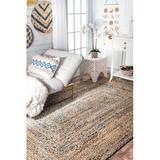 Mistana™ Destrie Hand Braided Blue/Beige Area Rug Cotton/Jute & Sisal in White, Size 36.0 W x 0.5 D in   Wayfair CEC11D4426AE4BB6A55BA15AC0387A91