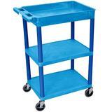 "Offex 3 Shelf Utility Cart, Plastic in Blue, Size 18"" L x 24"" W x 37.5"" H | Wayfair OF-BUSTC122BU"