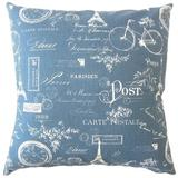 One Allium Way® Daniele Typography Down Filled 100% Cotton Throw Pillow Down/Feather/Cotton in Blue/Navy, Size 18.0 H x 18.0 W x 5.0 D in | Wayfair