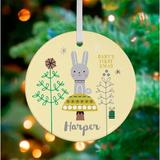 Oopsy Daisy Personalized All I Want for Christmas Baby Hanging Ornament Ceramic/Porcelain in Yellow, Size 3.0 H x 3.0 W x 0.125 D in   Wayfair