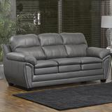 """Orren Ellis Coyle 86"""" Genuine Leather Pillow Top Arm Sofa Genuine Leather in Gray, Size 38.0 H x 86.0 W x 36.0 D in   Wayfair"""