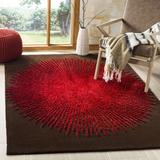 Orren Ellis Olivarria Hand-Tufted Brown/Red Area Rug Viscose/Wool in White, Size 36.0 H x 24.0 W x 0.63 D in | Wayfair