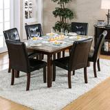 Red Barrel Studio® Ellar 7 Piece Dining Set Wood/Upholstered Chairs in Black/Brown, Size 30.5 H x 36.0 W x 60.0 D in | Wayfair