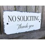 Sassy Squirrel Ink No Soliciting Sign in White, Size 6.0 H x 12.0 W x 0.25 D in   Wayfair 5355925225162