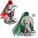 The Holiday Aisle® 2 Piece Cowboy Boots & Wolf Hanging Figurine Ornament SetMetal in Gray/Green/Red, Size 3.0 H x 3.0 W x 1.0 D in | Wayfair