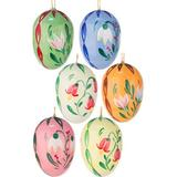 The Holiday Aisle® 6 Piece Dregeno Flower Easter Egg Holiday Shaped Ornament Set Wood in Blue/Brown/Pink, Size 1.5 H x 1.0 W x 1.0 D in | Wayfair