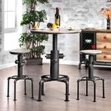 Williston Forge Elwell 3 - Piece Dining Set Wood/Metal in Black/Brown/White, Size 42.0 H x 32.0 W x 32.0 D in | Wayfair