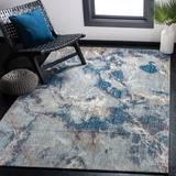 17 Stories Massad Abstract Blue/Ivory Area Rug Polyester in Brown/White, Size 84.0 H x 84.0 W x 0.31 D in   Wayfair TRNT3173 42726824