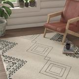 Union Rustic Powell Ivory/Area Rug Polyester/Wool in Gray, Size 60.0 W x 1.0 D in   Wayfair 889F49A905764DDC9DCF53F5AAB0CAEE