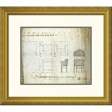 """Global Gallery 'Designs For An Upholstered Chair, 1909' by Charles Rennie Mackintosh Framed Graphic ArtPaper in Brown, Size 27.8"""" H x 32"""" W x 1.5"""" D"""
