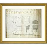 Global Gallery 'Designs For An Upholstered Chair, 1909' by Charles Rennie Mackintosh Framed Graphic ArtPaper in Brown | Wayfair DPF-266803-30-109