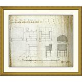 Global Gallery 'Designs For An Upholstered Chair, 1909' by Charles Rennie Mackintosh Framed Graphic ArtPaper in Brown | Wayfair DPF-266803-36-109
