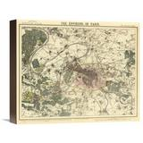 Global Gallery Environs Paris, 1883 Graphic Art on Wrapped Canvas Canvas & Fabric in Brown/Gray/Green, Size 13.0 H x 16.0 W x 1.5 D in | Wayfair