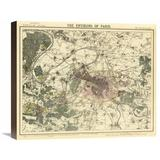 Global Gallery Environs Paris, 1883 Graphic Art on Wrapped Canvas Canvas & Fabric in Brown/Gray/Green, Size 18.0 H x 22.0 W x 1.5 D in | Wayfair