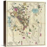 Global Gallery City of Seattle & Environs, 1890 by O.P. Anderson Graphic Art on Wrapped Canvas Canvas & Fabric in Brown | Wayfair GCS-294911-16-146