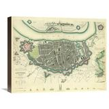Global Gallery Antwerp, Belgium, 1832 Graphic Art on Wrapped Canvas Canvas & Fabric in Brown/Gray, Size 17.0 H x 22.0 W x 1.5 D in | Wayfair