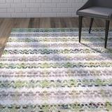 Wrought Studio™ Ingleside Striped Hand-Woven Flatweave Cotton Green/Gray/White Area Rug Cotton in Brown/Gray/White, Size 72.0 H x 72.0 W x 0.25 D in