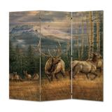 WGI-GALLERY Back Country Elk 3 Panel Room Divider Wood in Black/Brown, Size 55.0 H x 55.0 W x 1.0 D in | Wayfair RS-BCE-5555